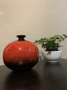 昭和レトロ たち吉 一輪差し 花生 花瓶 赤色 緋色 緋雲 陶器 壺 茶道具