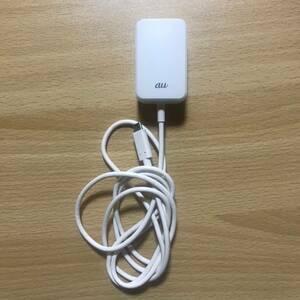 中古 au 純正 Type-C 共通ACアダプタ01 本体のみ ホワイト 0601PQA USB Qualcomm Quick Charge3.0 急速充電 YO-489_8/19