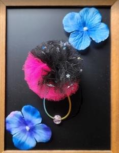 1 Popular to girls! [Pink × Black] Handmade Tulle Pompon Hair Gom 1 Bicolor Handmade Presentation Event Hair Accessories