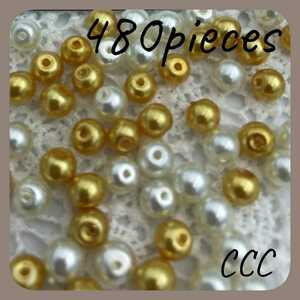 CCC.アクセサリーパーツ 穴あきビーズセット 480粒 ゴールド ホワイト ハンドメイドパーツ 素材 材料 パール調 金 白