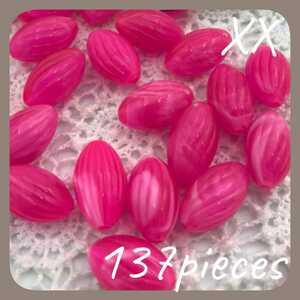 XX.アクセサリーパーツ 穴あきビーズ ピンク ハンドメイドパーツ 素材 材料 個性的