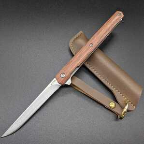 1378126 折り畳み ウッドハンドル サバイバルナイフ レザーケース付き アウトドア用小型ナイフ フィッシュナイフ  ベアリング