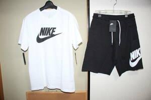未使用ナイキNIKE メンズL 白黒 半袖Tシャツ&ハーフパンツ上下セット