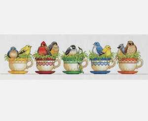 クロスステッチキット◆ティーカップ 鳥 Dimensions アメリカ直輸入 ディメンション 可愛い小鳥 刺繍キット 手芸セット