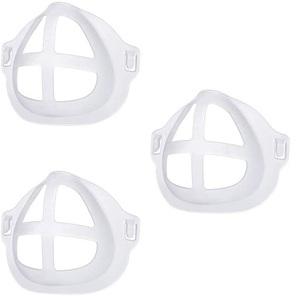 送料無料★立体 シリコンインナーマスク マスクフレーム メイク崩れ防止 マスクブラケット 3Dマスクサポート 洗える 3枚入 半透明 口紅保護