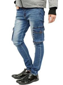 【新品】 XL インディゴ カーゴパンツ メンズ ストレッチ スリム デニム スキニーパンツ