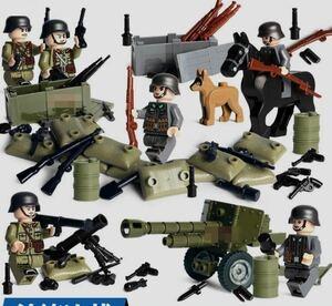 第二次世界大戦 ドイツ軍xアメリカ軍 武器つきセット 戦争軍人軍隊マンミニフィグ LEGO 互換 ブロック ミニフィギュア レゴ 互換t13