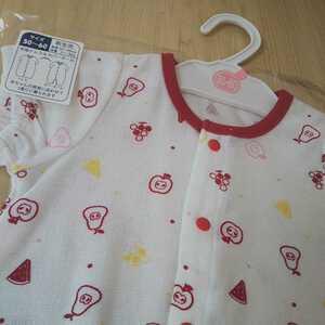③【新品】ベビー カバーオール ドレス&プレオール タグ付き 半袖 50~60㎝ 綿100% 出産準備品 女の子 新生児 ベビー服 果物柄