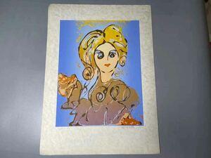 永瀬義郎 日本画 サイズ約56×40cm 画約40×31cm 浮世絵 木版画 美術品 美女 永瀬義郎 自筆サイン 美術品 絵画