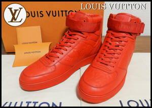 即完売 LOUIS VUITTON モノグラムレザースニーカー 赤 ルイヴィトン レザー ハイカット メンズ 7 型押し 26.0cm ベルト レッド 靴 ネクタイ
