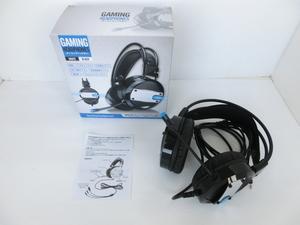 ●ゲーミングヘッドホン 【BLACK】ボイスチャット対応 ヘッドセット LED発光ライト