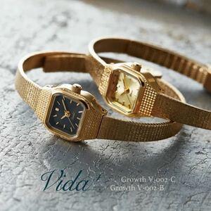 即決●Vida+●ヴィーダプラス●腕時計●華奢●上品●ゴールド×ブラック●レディース腕時計 ●完売
