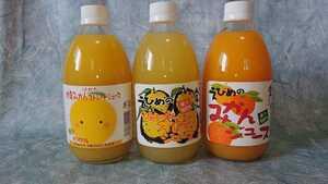 セット割り!みかんジュースシリーズ!甘ずっぱーい~!愛媛県産果汁100%温州みかん、甘夏、河内晩柑500㎜×3種セット×8本計24本入り