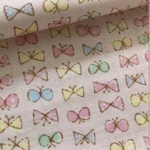 ダブルガーゼ リボン蝶々 ピンク 生地巾×50センチ