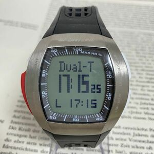 ★SPORTLINE 多機能 デジタル メンズ 腕時計★ スポーツライン アラーム クロノ タイマー シルバー 稼動品 F3607