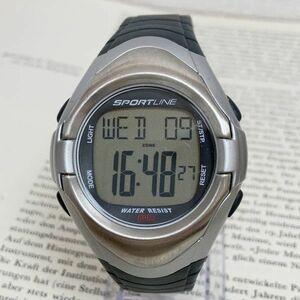 ★SPORTLINE 多機能 デジタル メンズ 腕時計★ スポーツライン アラーム クロノ タイマー シルバー 稼動品 F3618