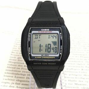 ★CASIO ILLUMINATOR 多機能 腕時計 ★カシオ イルミネーター W-201 アラーム クロノ ブラック スクエア 稼動品 F3659