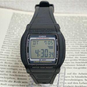★CASIO ILLUMINATOR 多機能 デジタル 腕時計 ★カシオ イルミネーター W-201 アラーム クロノ ブラック 稼動品 F3757