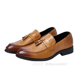 タッセルローファー ビジネスシューズ メンズ 紳士靴 カジュアル ワニ柄 スリッポンドライビングシューズ「24cm-29cm選択可」