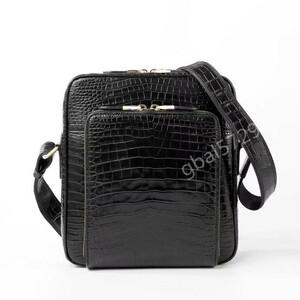 新入荷 クロコダイルレザー ワニ革本物 本革 腹革使用 2way 多機能 斜め掛け ショルダーバッグ ボディバッグ 鞄 メンズ 通勤 1点