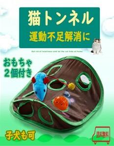 【新品】猫の隠れトンネル 9つの穴 おもちゃ2個付 ストレス解消 子犬も 運動不足 肥満 ダイエット pay2