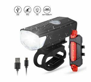 自転車ライトUSB LED充電前後ヘッドリア安全警告灯背面防水新品未使用品 送料無料