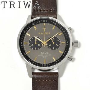 TRIWA トリワ 腕時計 ネヴィル グレー×ゴールド文字盤 メンズ 革ベルト レザーベルト クロノグラフ 北欧ウォッチ 新品 未使用