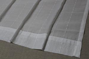 ☆レースカーテン:200×198cm:1枚 WH/刺繍ライン/美ドレープ/ボイル☆c229