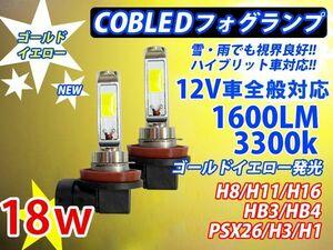 (P)雨天に強い角度調整可能 COBチップ H1/H3/H8/H11/H16/HB3/HB4/PSX26選択可 LEDフォグランプ 1600lm 36w ゴールデンイエロー黄金黄色