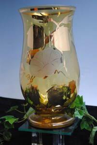 su265*bohemi Anne стакан. ваза *kali стакан / Чехия s осел Kia производство / желтый × Gold / ваза для цветов / модный / подробности фотография несколько есть