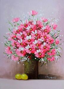油彩画 洋画 肉筆絵画 ( 油絵額縁付きで納品対応可 ) SMサイズ 「赤い花」 矢野 恵子