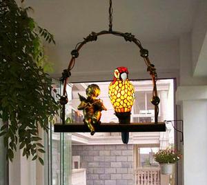 人気美品◆ステンドランプ ステンドグラス 鸚鵡 オウム+天使 吊り下げ照明 ペンダントライト ティファニー 装飾品◆工芸品◆極上品CZ-53