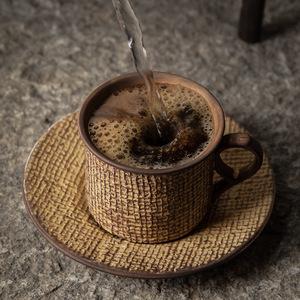 ◆1円スタート◆コクのあるコーヒーを飲むなら☆カップ ソーサー ティータイム おしゃれ 網目 どっしり 重厚感 ヴィンテージ感 AT12000