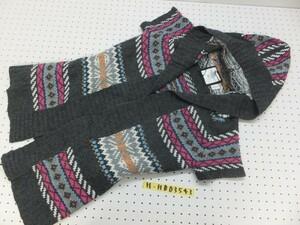 H&M エイチアンドエム レディース 柄織り 半袖 ニットカーディガン L 水色ピンク白グレー