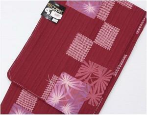 洗える薄もの 単衣 ヒロミチ ナカノ 麻 赤色に花柄 TEIJIN 288