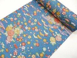 洗える着物 小紋 反物 青に桜 梅 菊 牡丹 紅葉 276