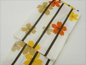 きもの 洗える 着物 単衣 バチ衿 白地 オレンジ 黄色 ベージュ 桜 396