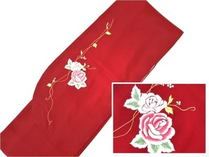 卒業式 入学式に洗える二尺袖 着物 袴 赤地ツルバラ刺繍 身丈165 裄66 新品 026