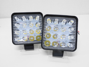 free shipping!2 piece set! prompt decision!LED light 16 ream 48W waterproof ip67 rectangle forklift truck heavy equipment working light LED working light