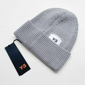 新品 2020AW Y-3 ワイスリー ロゴ ウール ニット帽 ビーニー メンズ 帽子 ニットキャップ GR4118 ヨウジヤマモト グレー