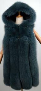 本物◆限定★最高級↑フォックスファー &羊革ロングベスト ブート付★毛皮ファー