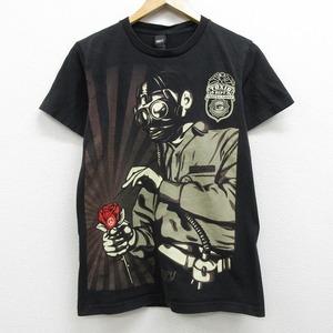 S 古着 半袖 ブランド Tシャツ オベイ OBEY ワンポイントロゴ ガスマスク バラ ピースマーク コットン クルーネック 黒 ブラック 中古 メン
