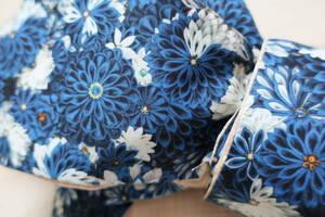 つまみ細工柄半幅帯 リバーシブル 青 菊模様 着物帯 浴衣帯 ハンドメイド