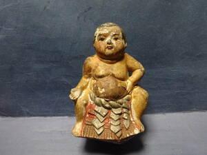 (5)お相撲さんの土人形 汚れ、痛み、補修があります。ご了承ください。 検;角力力士横綱大関番付