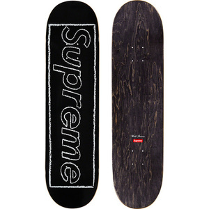 supreme 21ss KAWS Chalk Logo Skateboard Black 黒 カウズ スケートボード DECK デッキ