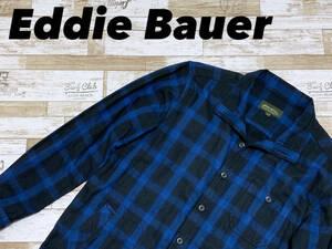 ☆送料無料☆ Eddie Bauer エディーバウアー 古着 長袖 チェック柄 シャツ ジャケット メンズ S ブルー トップス 中古 即決