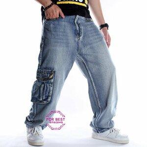 ワイドパンツ メンズ ジーンズ ポケット付き デニムパンツ ワイドパンツ メンズ ジーンズ ポケット付き デニムパンツ ジーパン 綿100%