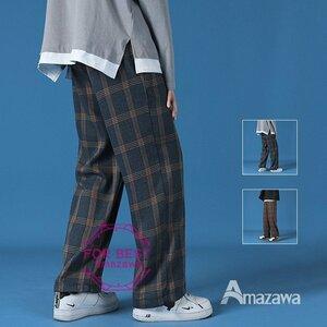 テーパードパンツ メンズ チェック柄 ワイドパンツ カジュアル テーパードパンツ メンズ チェック柄 ワイドパンツ カジュアル 裾ドロース