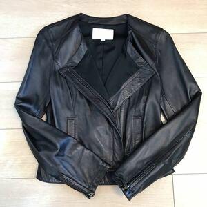 美品 ナチュラルビューティー ライダースジャケット ブラック羊革 レザージャケット