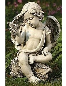 鳩と天使(ケルビム)ガーデン彫刻 彫像/ 智天使 教会 (輸入品) 旧約聖書 ガーデニング 造園 園芸 ベランダ 観葉植物 芝生 庭園 (輸入品)